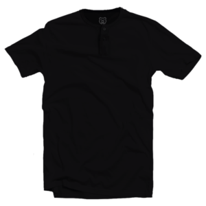 black short sleeve henley neck