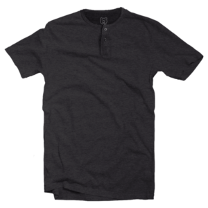 charcoal grey short sleeve henley neck