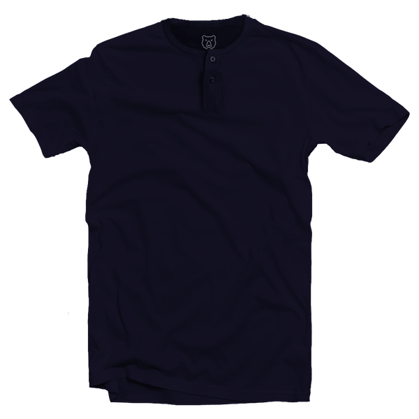 navy blue short sleeve henley neck