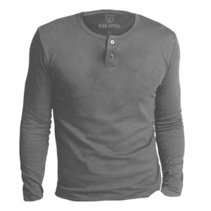 grey long sleeves henley neck