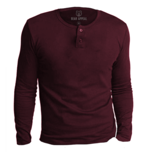 maroon long sleeves henley neck