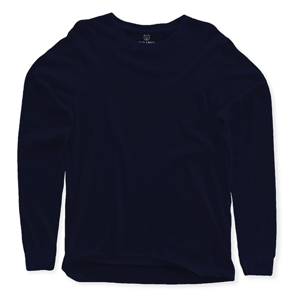 navy blue long sleeves crew neck