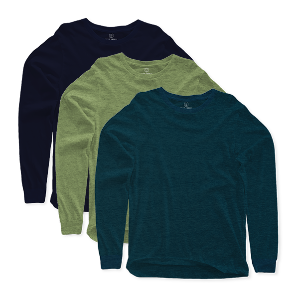 Long Sleeves Crew Neck T Shirt 3 pack
